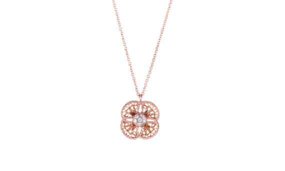 Eleuterio Blossom small filigree necklace mounted on rose gold