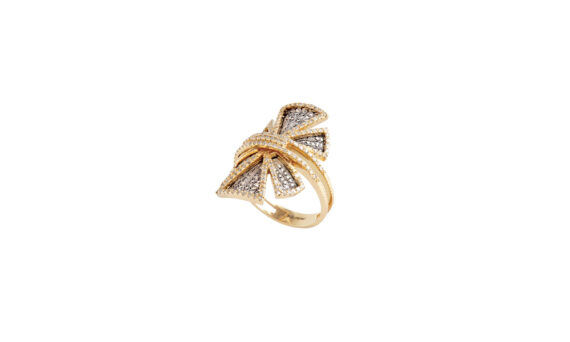 Couture white and yellow gold filigree ring