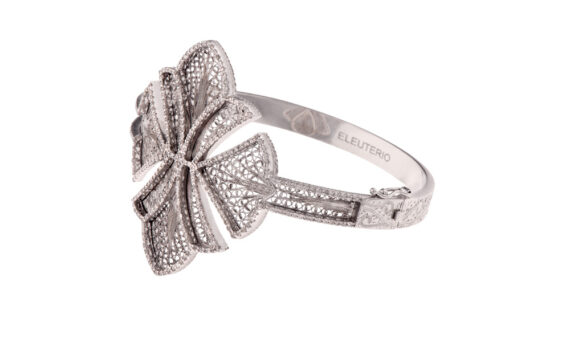 Eleuterio Couture white gold filigree bracelet