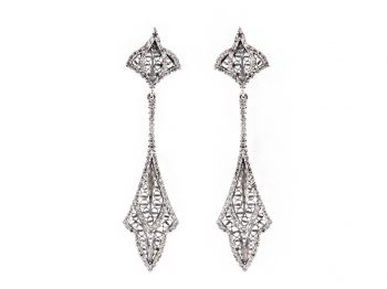 Couture white gold filigree pendant earrings