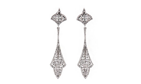 Eleuterio Couture white gold filigree pendant earrings