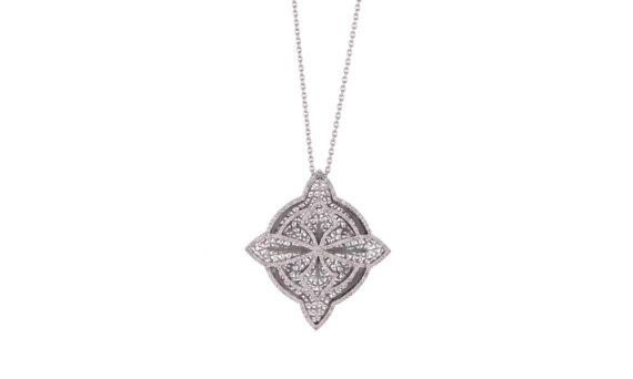 Eleuterio Couture white gold filigree necklace