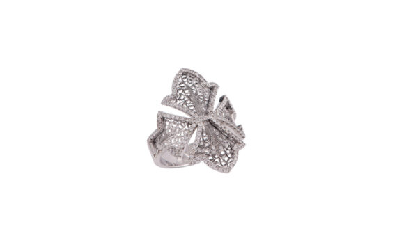 Eleuterio Couture white gold filigree ring