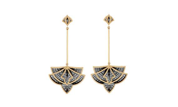 Eleuterio Couture yellow gold and-black ruthenium filigree earrings