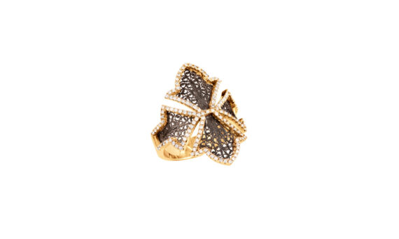 Eleuterio Couture yellow gold filigree diamond ring
