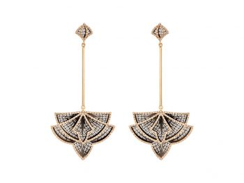 Couture yellow gold filigree diamond earrings