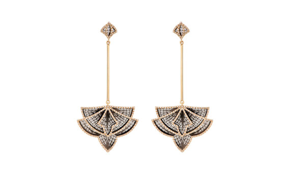 Eleuterio Couture yellow gold filigree diamond earrings