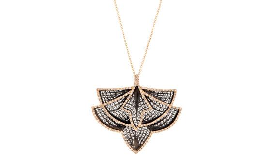Eleuterio Couture yellow gold filigree diamond necklace