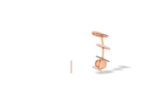 Eleuterio Dentelle gold filigree small asymmetric earrings rose gold