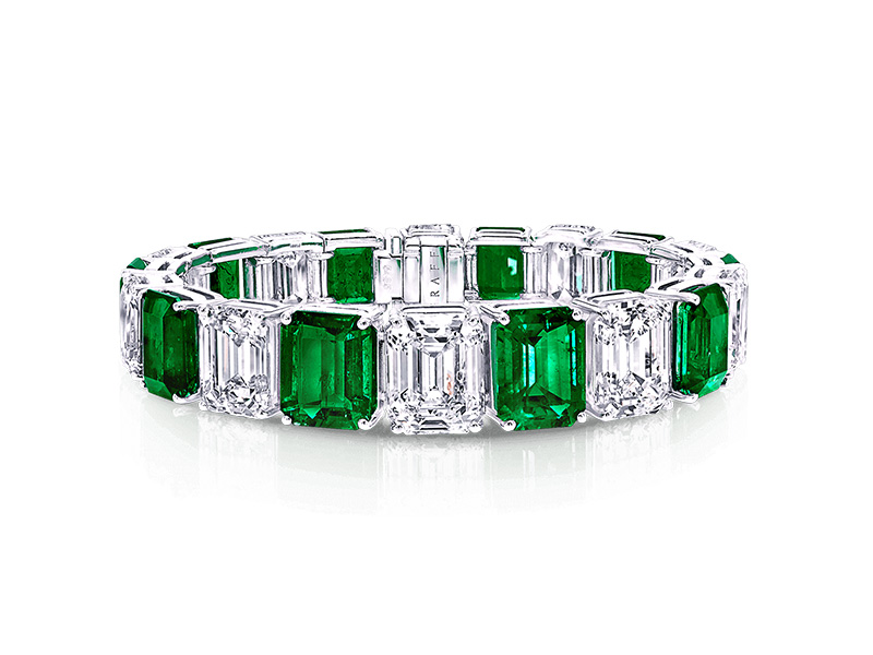 Graff Emerald Cut Emerald and Diamond Bracelet