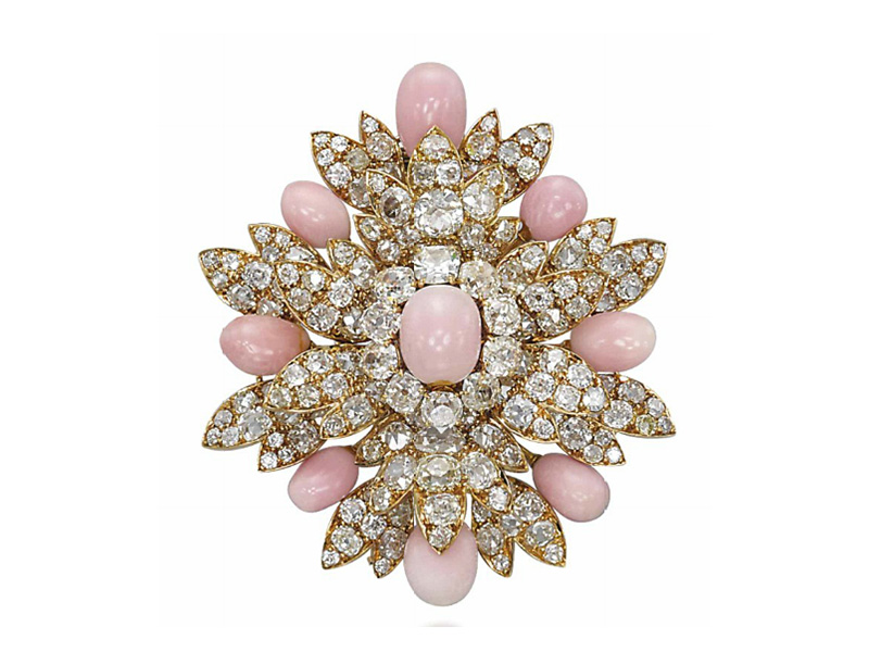 Harry Winston Conch Pearl and Diamond Brooch set with diamond and nine conch pearls