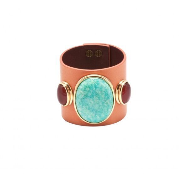 Hélène Prime Leather cuff with amazonite and cornalines