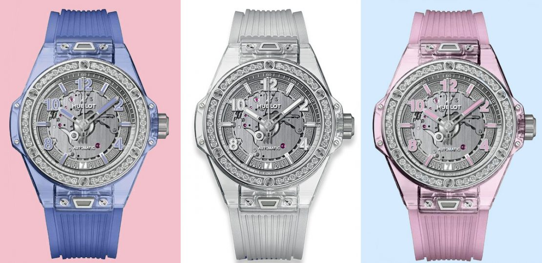 Hublot Big Bang One Click Sapphire with interchangeable strap. Available in three colours: natural, pink and blue