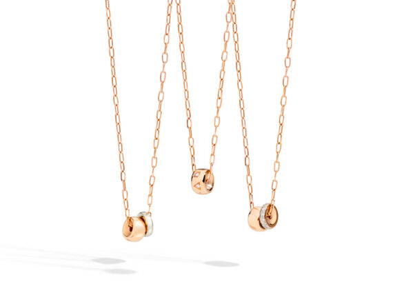 Pomellato Iconica pendants mounted on rose gold