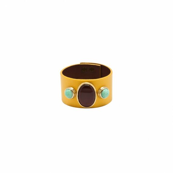 Hélène Prime yellow leather cuff with cornaline and amazonites