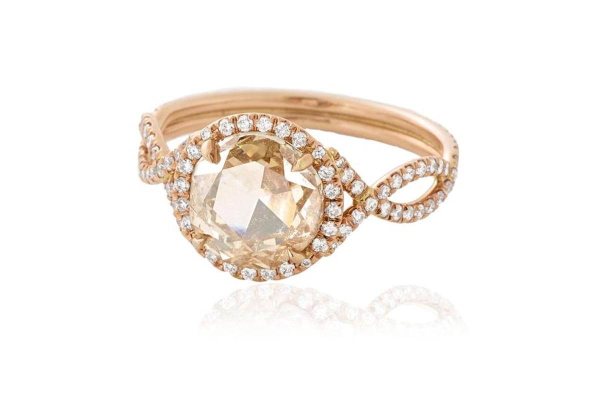 Monique Pean mineraux antique rose cut diamond engagement ring