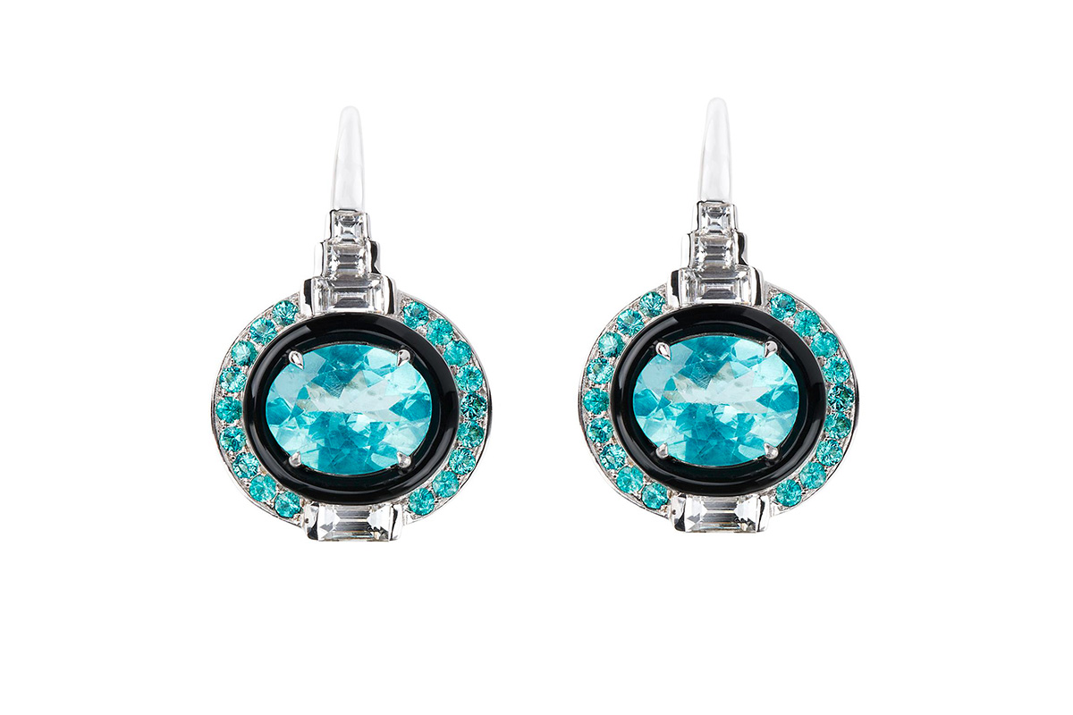 Nikos Koulis Yesterday Collection earrings with white diamonds,paraibas, apatites and black enamel