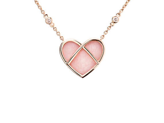 Poiray L'attrape Coeur Opale Necklace mounted on rose gold with diamonds
