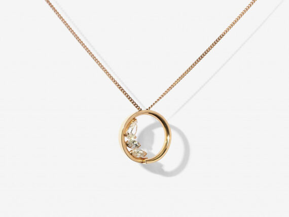 Repossi Necklace mounted on rose gold wit pear and marquise diamonds