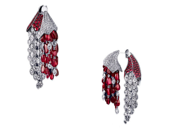 Reza Corne d'abondance earrings diamonds pigeon blood rubies