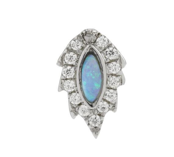 phoenix stud white gold white diamonds opal earring aaron jah stone
