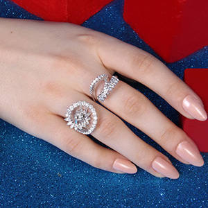 Yeprem M-Pulse collection rings mounted on white gold with round and marquise diamonds