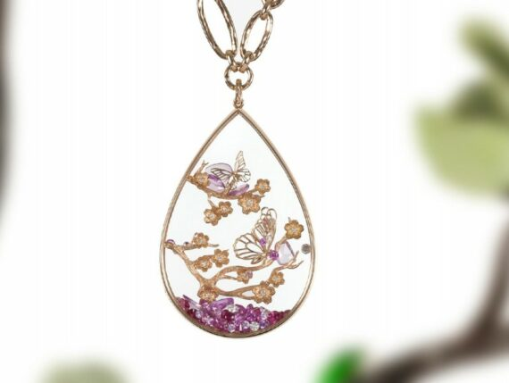Alexandra Abramczyk Butterflies pendant mounted on rose gold with diamonds sapphires rose cut and rubies