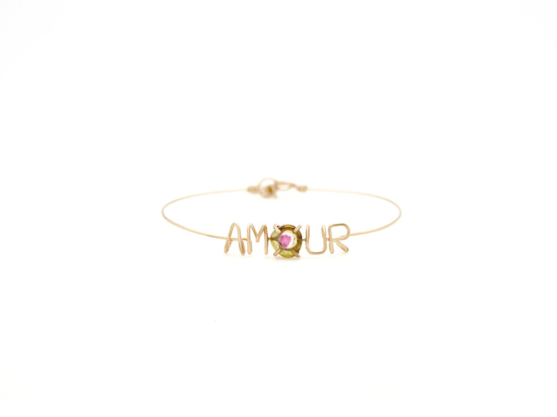 Atelier Paulin Amour Bracelet mounted on gold with watermelon tourmaline