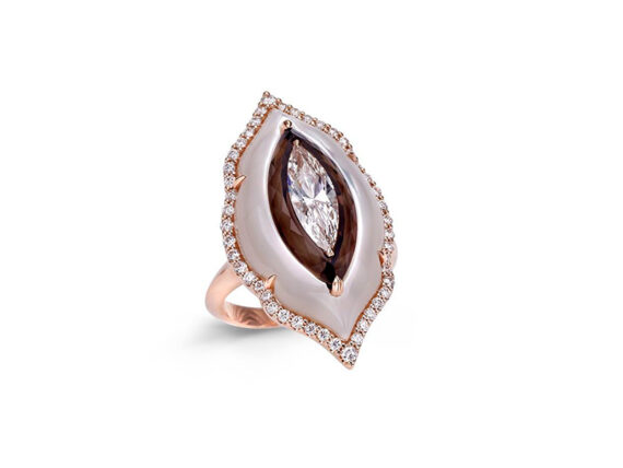 Boghossian Inlay ring with pink mother of pearl, smoky quartz and diamonds