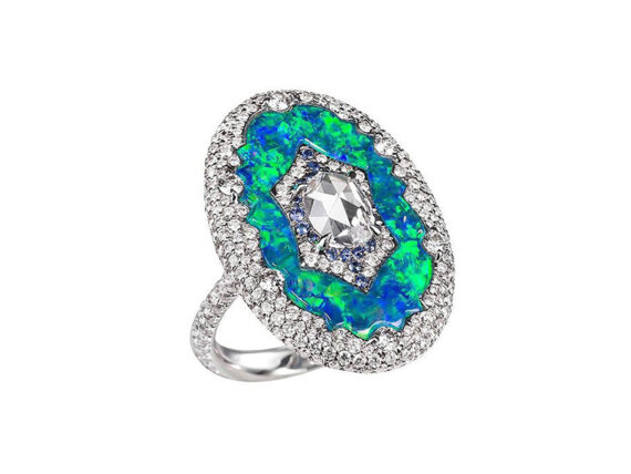 Boghossian Black opal ring with white diamonds