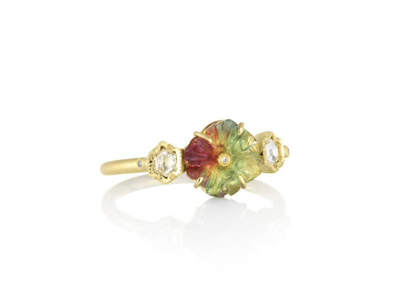 Brooke Gregson Rivera Flower rainbow tourmaline diamond ring