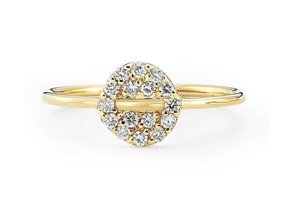 Buja Button diamon ring mounted on yellow gold with white diamonds