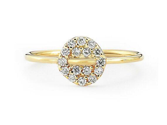 Buja Button diamon ring mounted on yellow gold with white diamonds