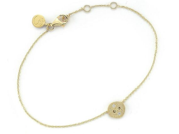 Buja Diamond button bracelet mounted on yellow gold with white diamonds