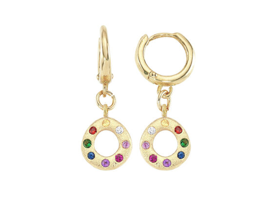 Buja - Oval rainbow earrings mounted on yellow gold with sapphires, tsavorite and amethyst