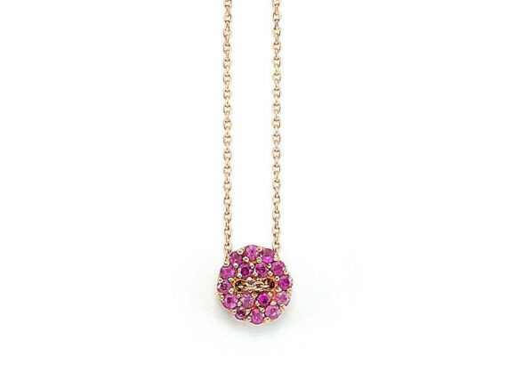 Buja Pink button necklace mounted on yellow gold with pink sapphires