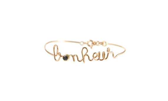 By Elia Bonheur bracelet mounted on 18ct ros gold with one black diamond