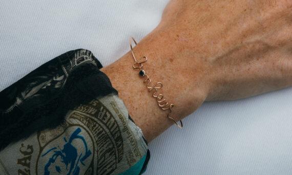 By Elia Bonheur bracelet or rose diamant noir