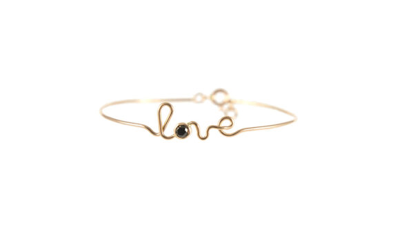By Elia Love bracelet mounted on 18ct rose gold with one black diamond