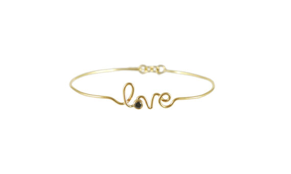 Bracelet Love or jaune diamant noir