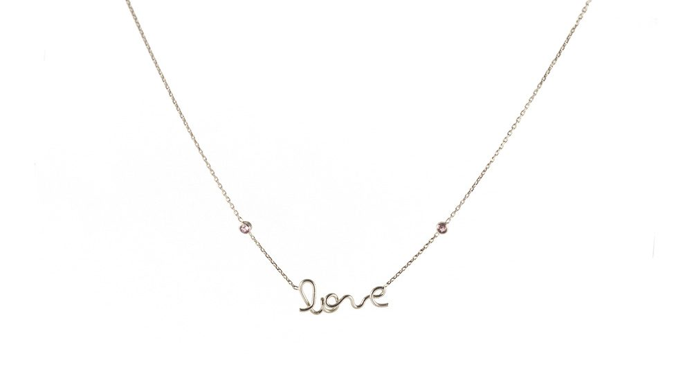 Love two pink sapphires necklace