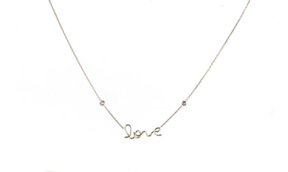 By Elia Love necklace mounted on 18ct white gold with two pink sapphires