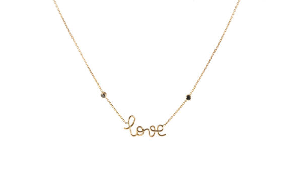 Love two black diamonds rose gold necklace
