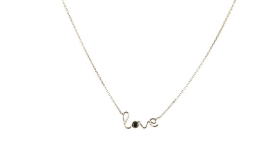 By Elia Love necklace mounted on 18ct white gold with black diamond
