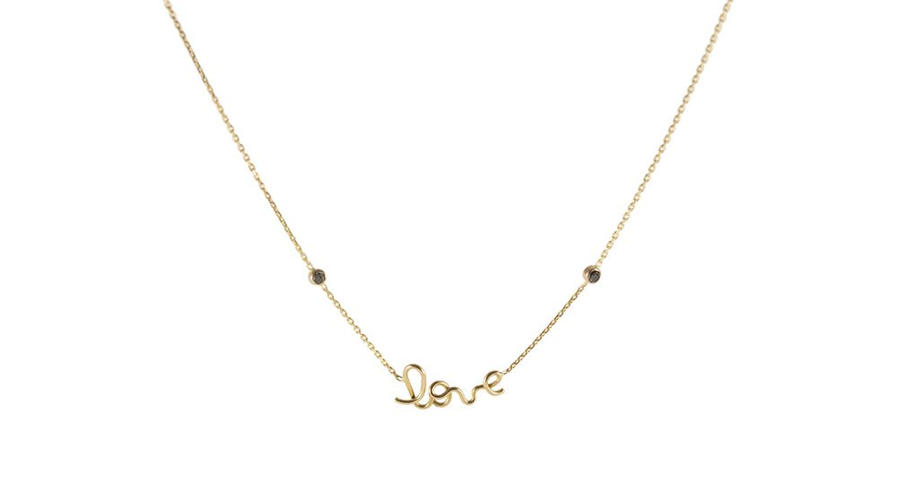 Collier Love deux diamants noirs or jaune