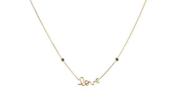 Love two black diamonds yellow gold necklace