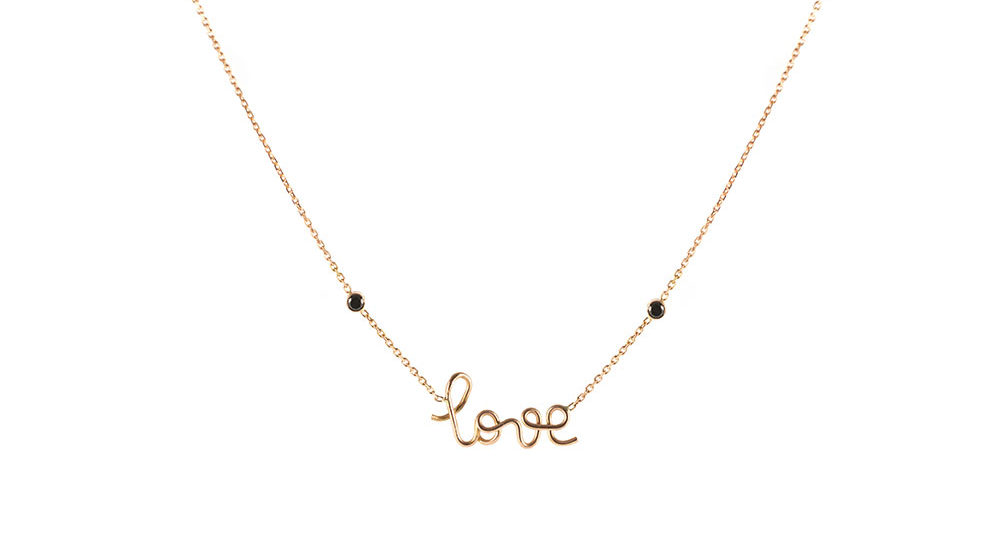Collier Love deux diamants noirs or rose