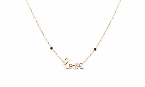 By Elia Love Necklace rose gold black diamonds