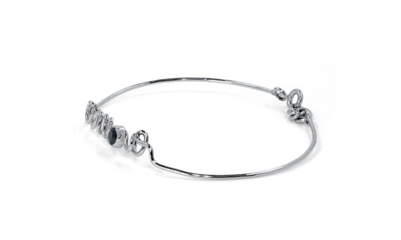 By Elia Amour bracelet mounted on white gold with one black diamond