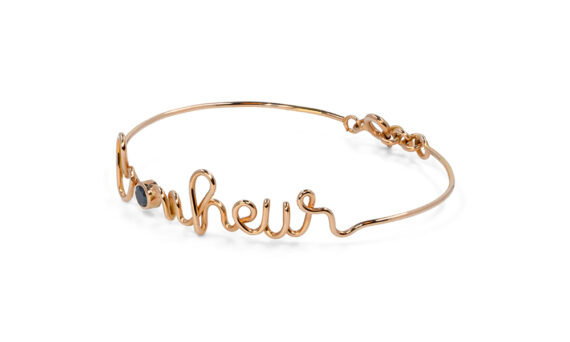 By Elia Bonheur bracelet mounted on 18ct rose gold with a black diamond
